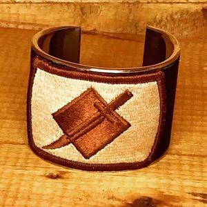 Designer Wrist Cuff Black Leather Inlay Army Patch